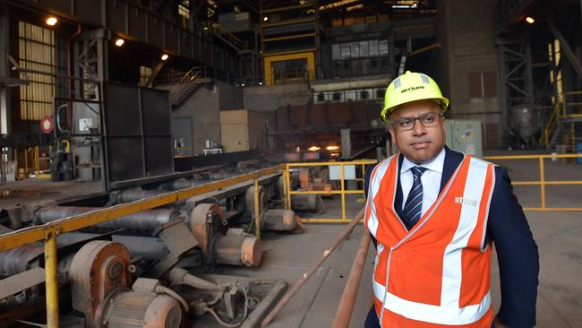 Sanjeev Gupta visits the Arrium steelworks in Whyalla. Picture: AAP Image/David Mariuz