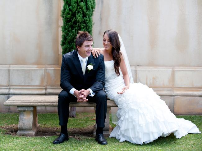 Brooke and Brad Field on their wedding day at Kingsbrook Estate, Currency Creek. Picture: Emma Sharkey Photography