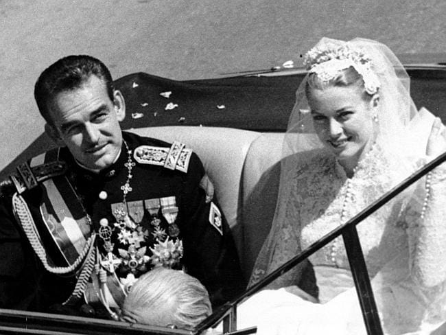 Family history ... Prince Rainier III of Monaco with his bride and former US actor Princess Grace (Kelly) after their wedding ceremony at the Monaco Cathedral in Monte Carlo on April 19, 1956.