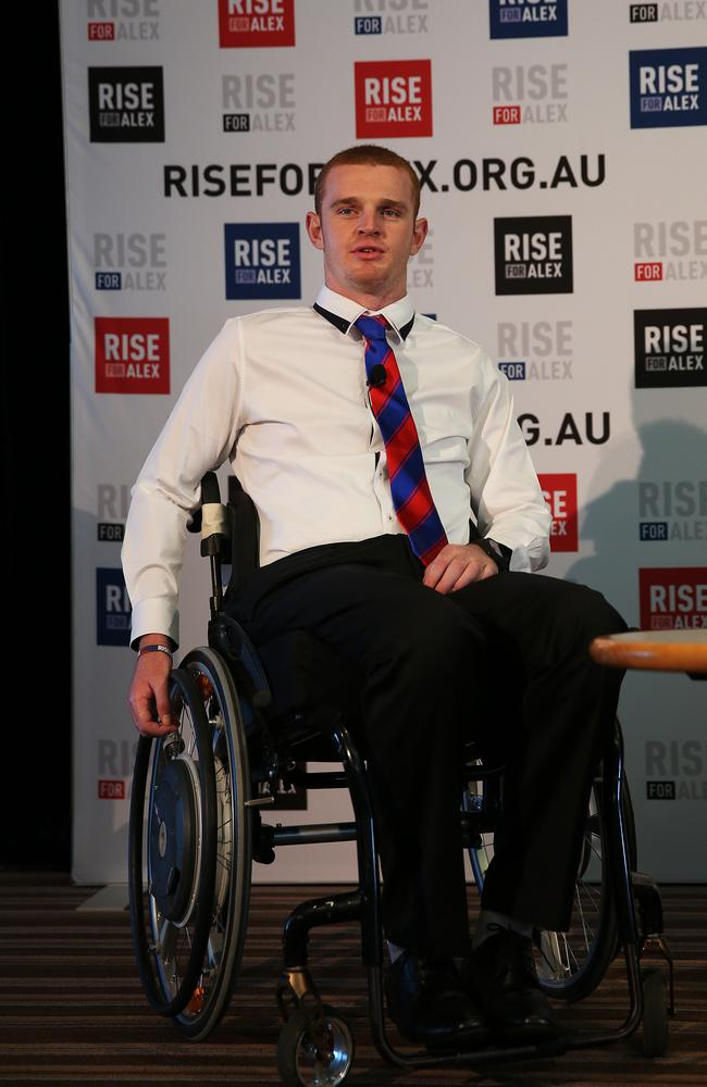 Newcastle Knights forward Alex McKinnon talks to the media during a Rise for Alex press conference.