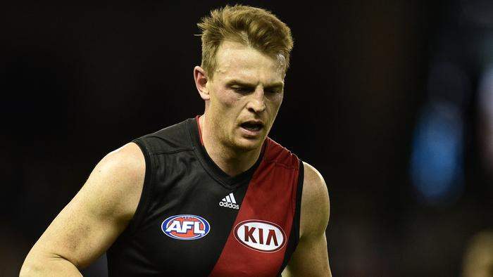 Brendon Goddard of the Bombers makes his way to the bench during the Round 20 AFL match between the Geelong Cats and the Essendon Bombers at Etihad Stadium in Melbourne, Sunday, Aug. 7, 2016. (AAP Image/Julian Smith) NO ARCHIVING, EDITORIAL USE ONLY