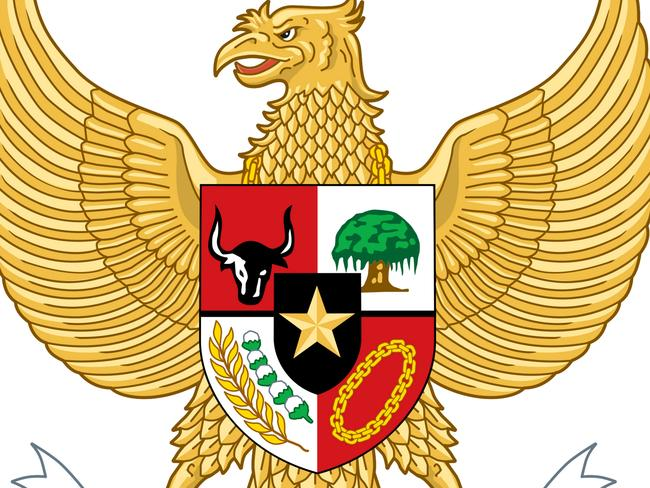 Indonesia's coat of arms features a shield with five emblems representing the principles of Pancasila. Picture: Probst/ullstein bild via Getty Images