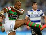 South Sydney's Lote Tuqiri kicks during the NRL game between the Canterbury Bankstown Bulldogs and the South Sydney Rabbitohs at ANZ Stadium. Picture Gregg Porteous