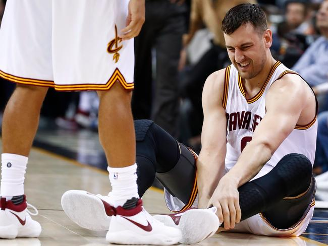 Andrew Bogut has fired up on Twitter amid news he is expected to rehab his broken leg back home in Australia. Picture: Getty Images