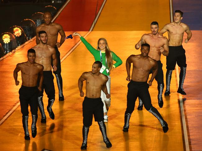 LaCaze busts a move with Kylie's back-up dancers.