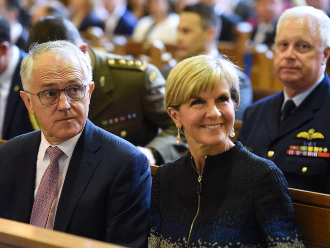 Malcolm Turnbull and Julie Bishop at an Ecumenical Service at St Andrews Church in Canberra. Picture: AAP Image/Mick Tsikas