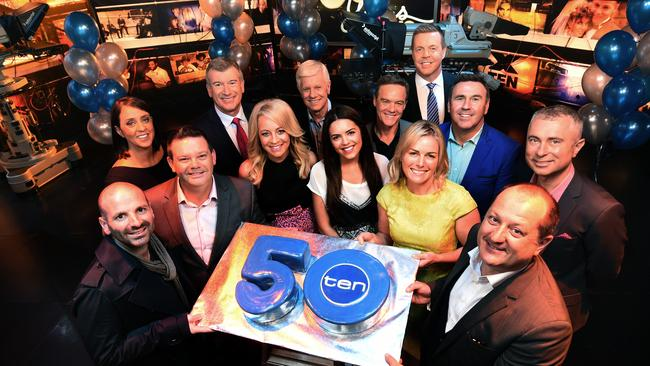 Channel 10 personalities including George Calombaris, Nicole Livingstone, Gary Mehigan, Stephen Quartermain, Carrie Bickmore, Mal Walden, Olympia Valance, Stefan Dennis, Kate Kendall, Brad McEwan, Mike Larkan, Russel Howcroft and Greg Rust. Picture:Tony Gough
