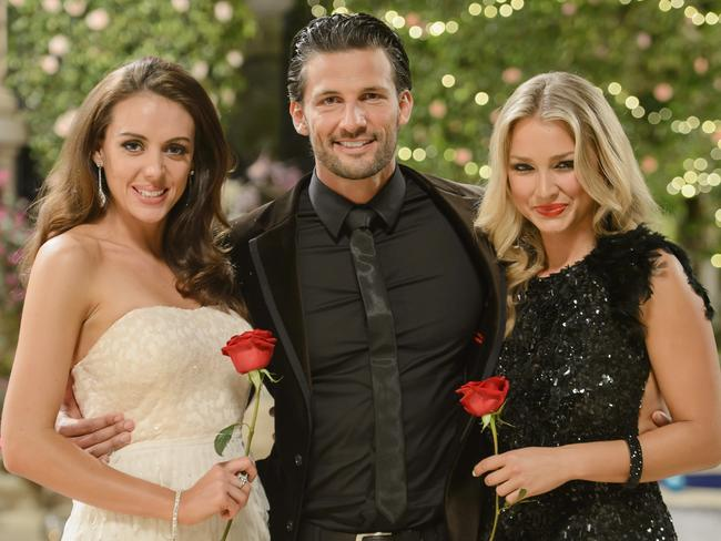 The first Aussie Bachelor, Tim Robards, with his two final bachelorettes, Rochelle and Anna.
