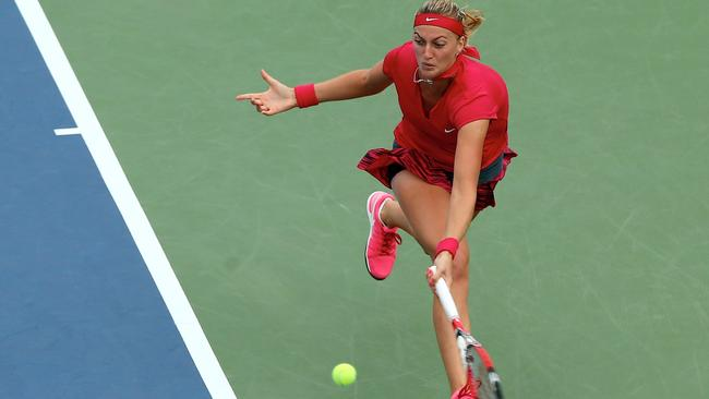 Kvitova chases down a forehand in the final/