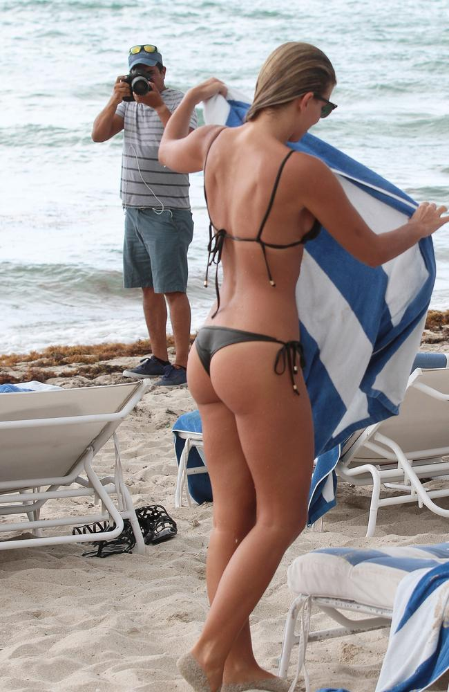 Papped ... Australian model Natasha Oakley is photographed on the beach in Miami.