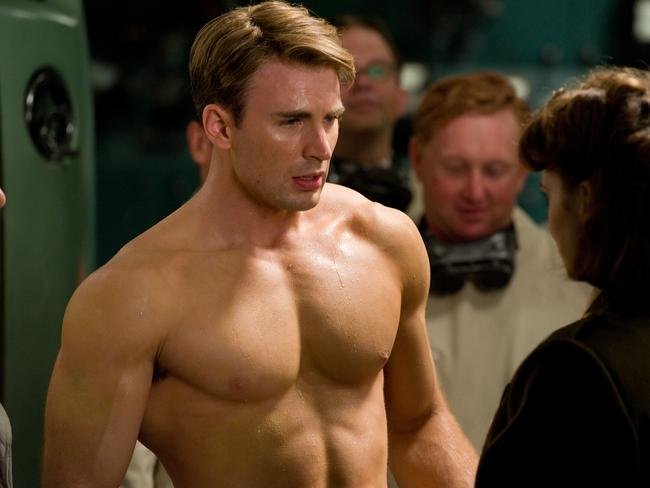 Sorry, can't think of a clever caption ... too busy looking at Chris Evans' chest.