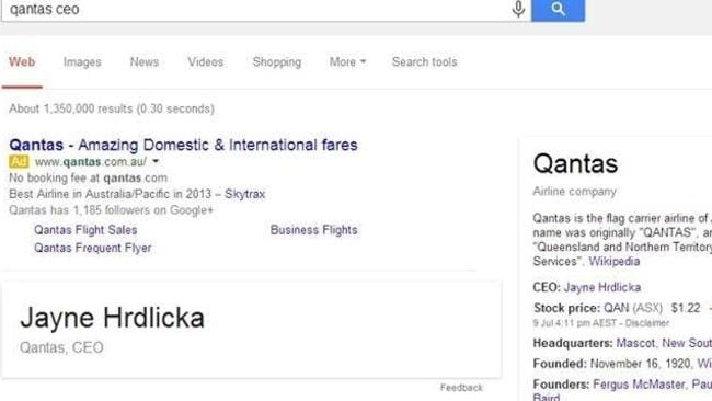 The Google search result. Picture: Screengrab