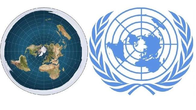 The Flat Earth map compared the UN logo