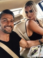"The 2016 ARIA Awards via social media ... Tim Robbards with Anna Heinrich, ""On way to the Aria awards! The glitz and glam of racing to get ready after work and eating on the run!"" Picture: Instagram"