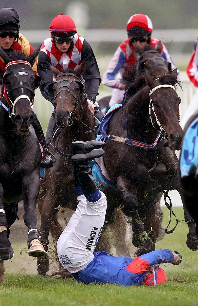 """Jockey Paul Hamblin suffered a race fall at Sandown afte his mount Chappell """"second guess"""