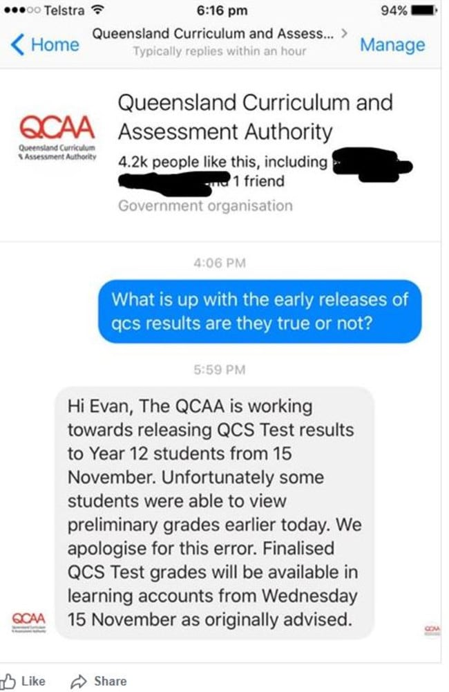 Students react after 'preliminary' QCS Test results were released online almost two weeks ahead of schedule.
