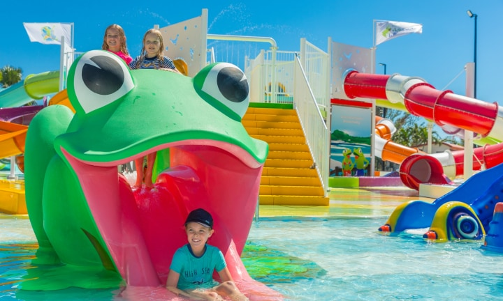 Toddlers can enjoy the park as well, with a giant frog and octopus making the perfect playground for little paddlers in a shallow baby pool.