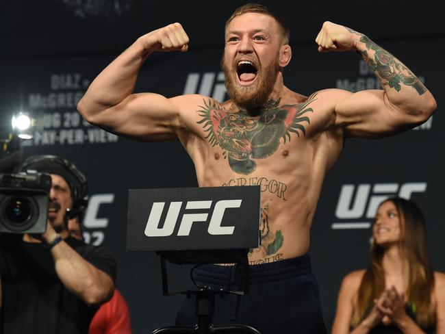 UFC featherweight champion Conor McGregor poses.
