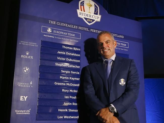 European Ryder cup team captain Paul McGinley stands by a list of his chosen players.