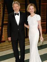 Harrison Ford, left, and Calista Flockhart attend the 2014 Vanity Fair Oscar Party. Picture: AP