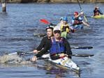 2014 Avon Descent finish, Baird/Brierley take out 5th in the double kayak. Picture: Jordan Shields