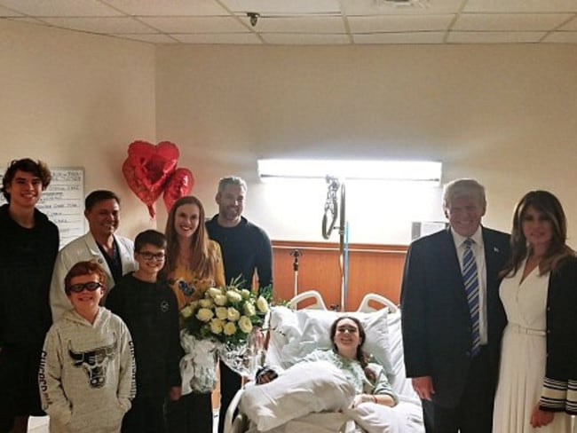 Donald and Melania Trump visited Madeleine Wilford after the Florida school shooting. Picture: Supplied