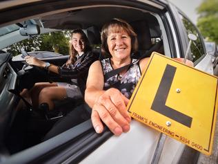 Longest serving driving instructor, Violeta Cvetkovski teaching her grandchild, Kayla Cvetkovski how to drive. Picture: Tony Gough