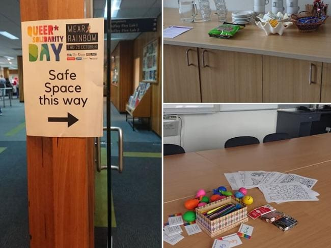 During the same sex marriage postal vote, my student union created a 'safe space' equipped with stress balls, colouring-in books and playing cards. Picture: Facebook