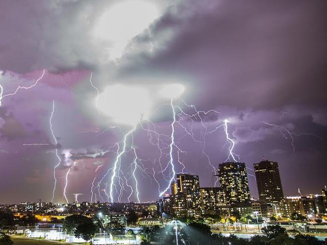 Photographer Roland Taylor captured Sydney's lightning strikes on Thursday last week in a montage. Picture: Roland Taylor.