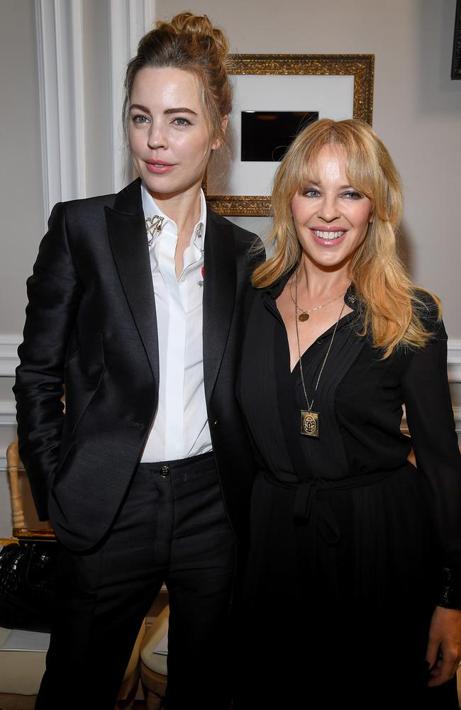 With fellow Aussie Melissa George at the Schiaparelli Haute Couture Spring/Summer 2018 show. Picture: Getty