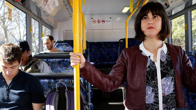 journalist Sarah Crawford on Bus 333 from Circular Quay to Bondi / Picture: Stephen Cooper