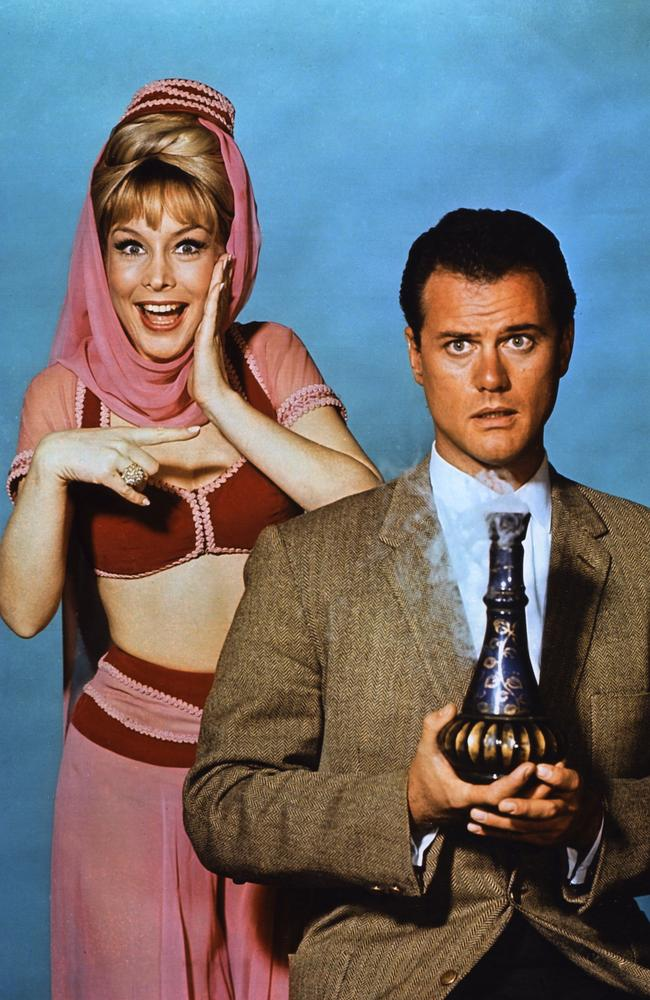 Barbara Eden and Larry Hagman from the popular TV series 'I Dream Of Jeannie'.