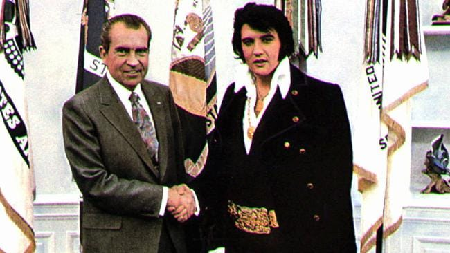 Elvis Presley meets with US President Richard Nixon and asks for a role as a special drugs investigator ... seems legit.