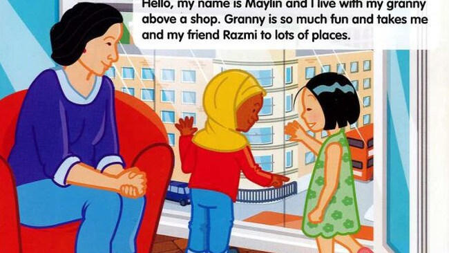 An image from the children's road safety campaign depicting a Muslim schoolgirl wearing a religious headscarf which British transport chiefs have been forced to shelve.