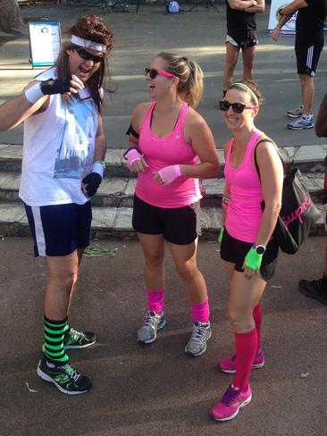 Getting into the retro spirit ahead of the Chevron City to Surf for Activ. Send your retro City to Surf picture to readerpics@perthnow.com.au Picture: Michelle Brown