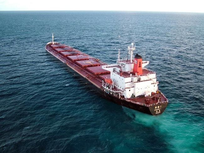 Chinese coal carrier Shen Neng 1 after running aground on the reef. AFP PHOTO/Queensland Government