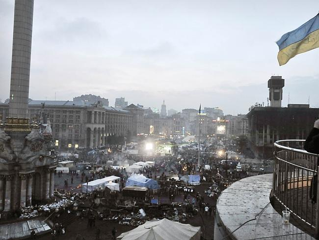 Protests camps in Ukraine's western capital, Kiev. Picture: AFP