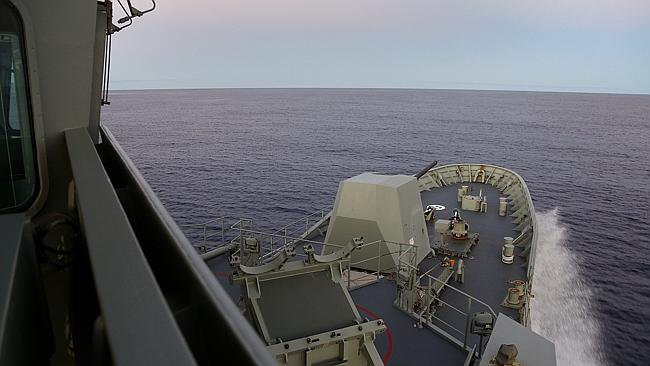 View from the bridge... HMAS Toowoomba is one of the naval vessels deployed to the search