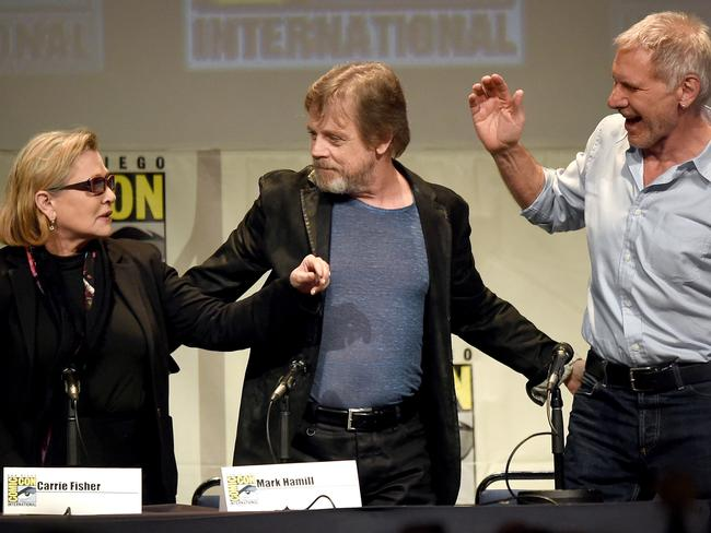 Carrie Fisher, Mark Hamill and Harrison Ford reunite at Comic-Con International 2015. Picture: AFP/Getty Images North America/Kevin Winter