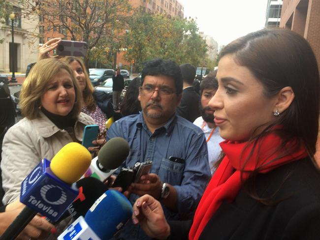 "Emma Coronel, wife of Joaquin ""Chapo"" Guzman, talks to reporters after visiting the Interamerican Commission on Human Rights in Washington. Picture: AFP"