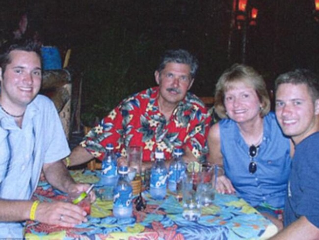 Thomas Whitaker, left, set up the ambush that killed mum, Tricia and brother, Kevin, right. Picture: Supplied