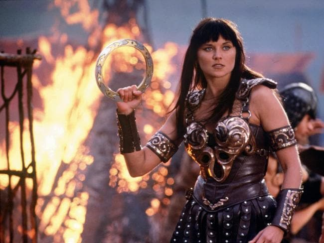 "Fighting success ... Actress Lucy Lawless in a scene from the 1990s TV series ""Xena: Warrior Princess""."