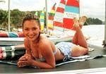 <p>Kristy Wright with the <em>Home and Away</em> cast on Hamilton Island in 1997. Picture: Rob Maccoll</p>