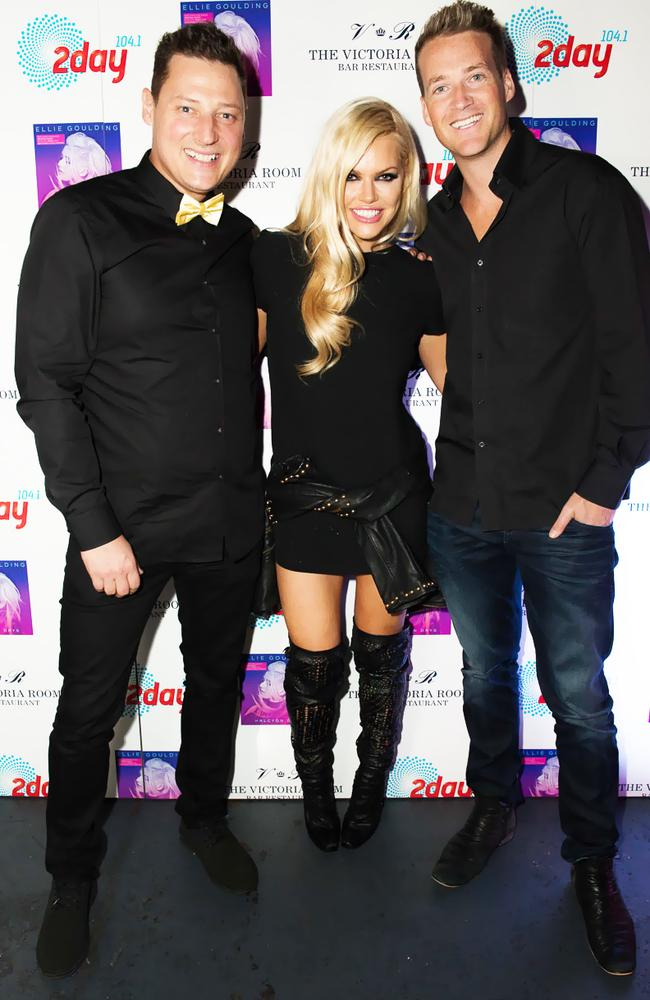 Breakfast show ... 2DAYFM's Merrick Watts, Sophie Monk and Jules Lund at The Victoria Room in Sydney earlier this year