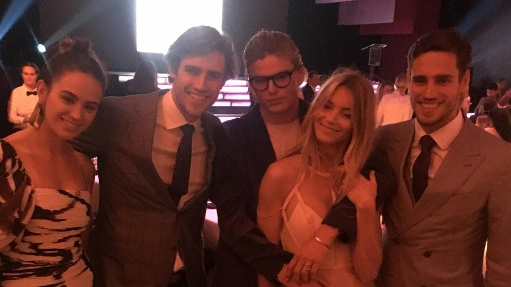 Jesinta Franklin, Stenmark twins, Jordan Barrett and Elyse Taylor at instyle party. Picture: Supplied