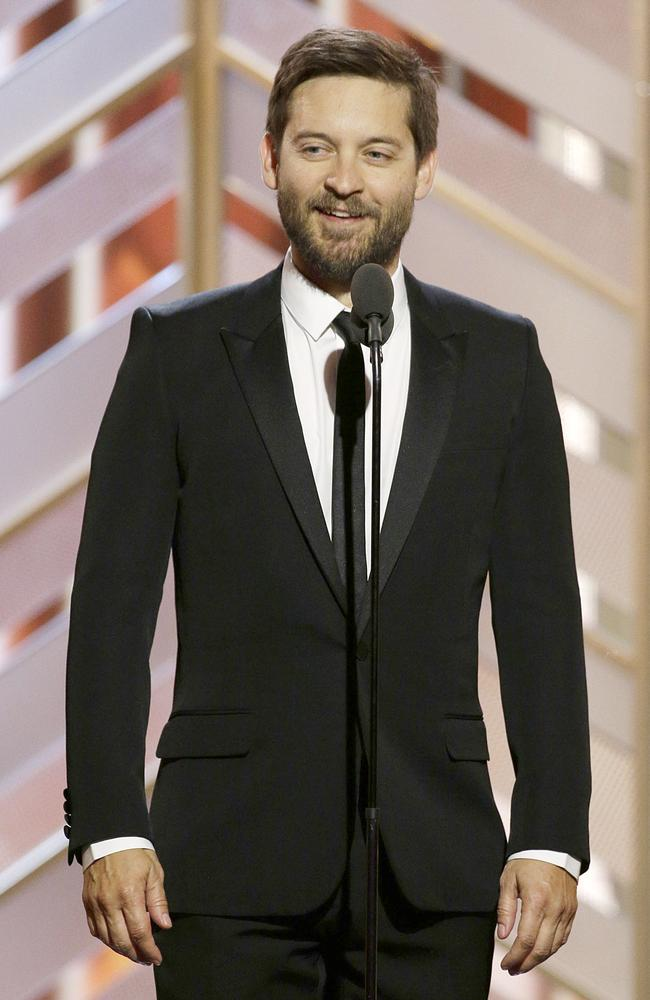 Presenter Toby Maguire speaks onstage during the 73rd Annual Golden Globe Awards at The Beverly Hilton Hotel on January 10, 2016 in Beverly Hills, California. (Photo by Paul Drinkwater/NBCUniversal via Getty Images)