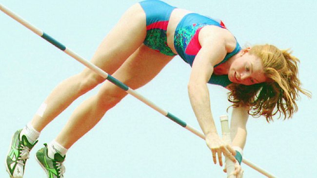 Pole vaulter Emma George sets a new world record in 1996.