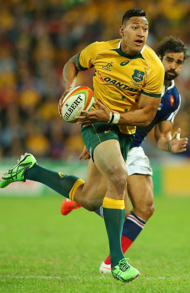 Israel Folau was outstanding against the French, showing Yoann Huget a clean pair of heels here.