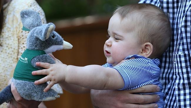 Prince George grabs a toy Bilby during a visit to Taronga Zoo. Picture: Chris Jackson/Get