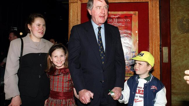 Flashback: Former NSW Premiere Neville Wran with his children Harriet (8) & Hugo (5) at the opening of a Disney stage show at State Theatre.
